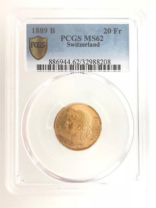 Swiss 20 Franc 1889 B MS62/EF+