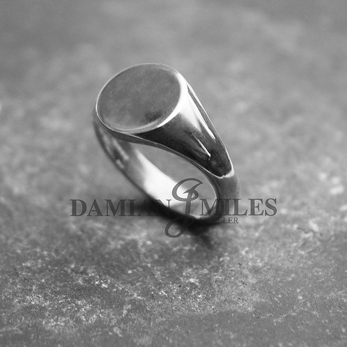 Custom engraved Round Signet Ring in  Sterling Silver.