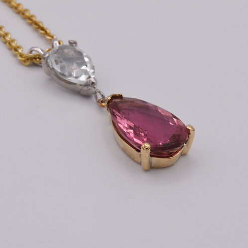 Pink Tourmaline and White Topaz Pendant.