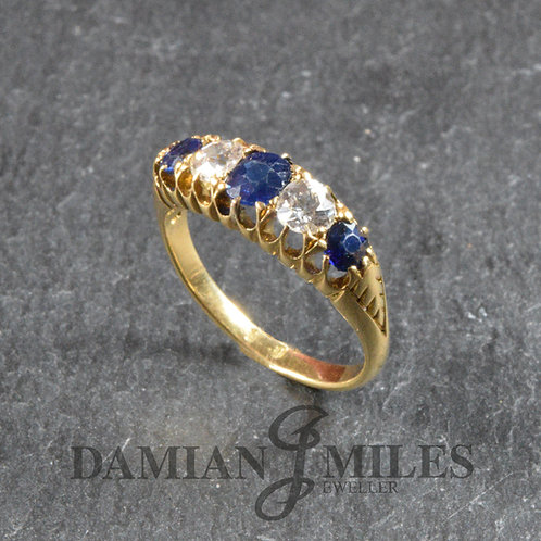 Victorian Sapphire and Diamond 5 stone ring.