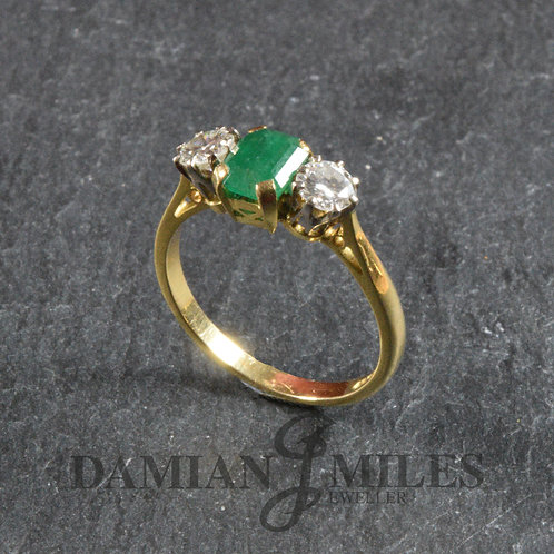 Vintage Emerald and Diamond 3 stone ring.