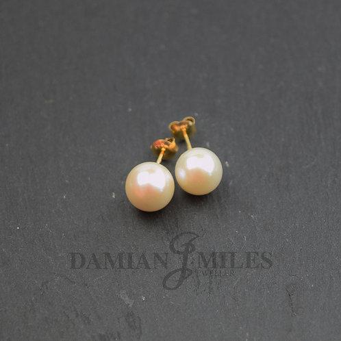 Large Pearl stud Earrings. 10-10.5 mm