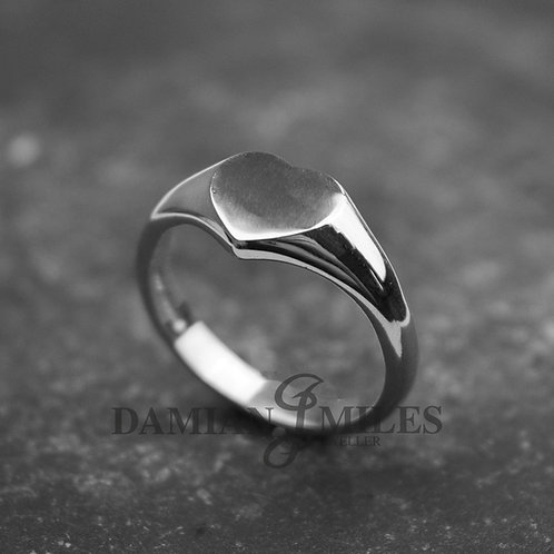 Lady's Heart shape Signet Ring in Sterling Silver