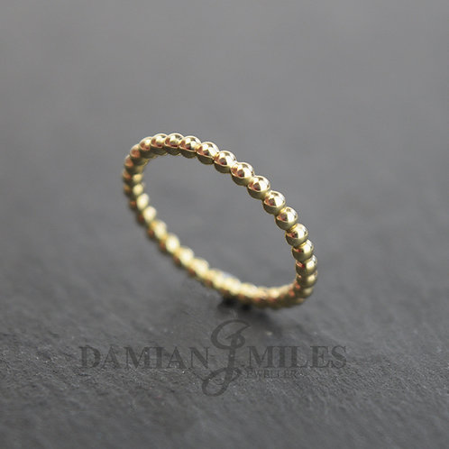 9ct gold Beaded stacker ring