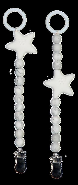 W PURE TÄHTITUTTINAUHA / SOOTHER HOLDER / NAPPHÅLLARE (Marble)