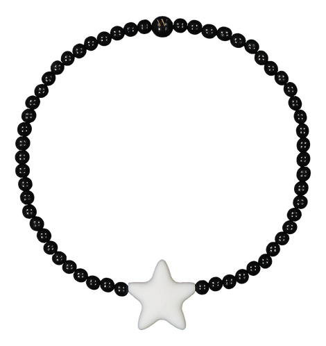 W WOOD LASTEN TÄHTIKAULAKORU / NECKLACE (Black Wood & White Star)