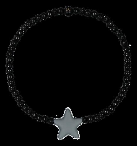 W WOOD LASTEN TÄHTIKAULAKORU / NECKLACE (Black Wood & Grey Star)
