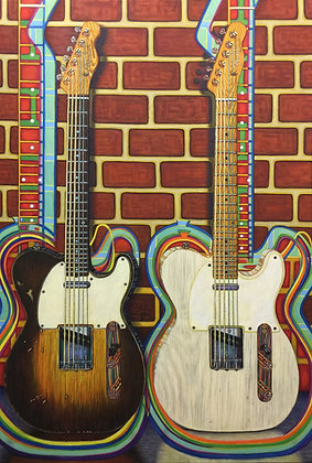 LMFA Guitar art, SWAMPY and the BLONDE, 5x7 Photo Print of a Logan Madsen Original Painting.
