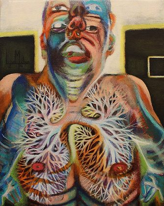 LMFA Original painting, WITH EVERY BREATH THE SOURCE BECKONS, self-portrait by artist, Logan Madsen in SYNDROME PSYCHOLOGY.