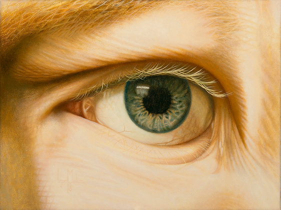 LMFA Original painting, LOOK ME IN THE EYE, a self-portrait by artist Logan Madsen in his SYNDROME PSYCHOLOGY series.
