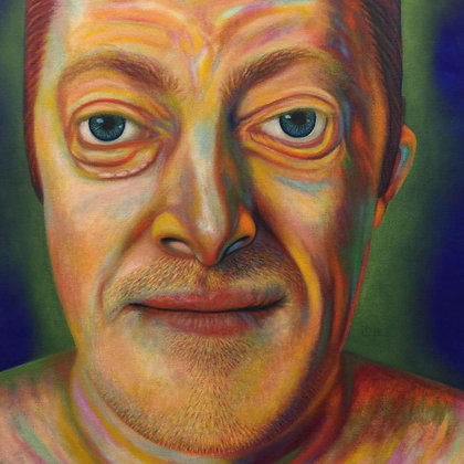 LMFA Self-Portrait in Exaggerated Realism. WOKE by Artist Logan Madsen, SYNDROME PSYCHOLOGY Series, 5x7.