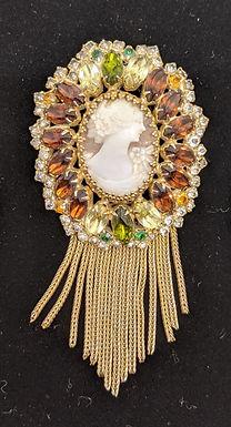 Vintage Amber Citrine Rhinestone Cameo Brooch and Earring Set