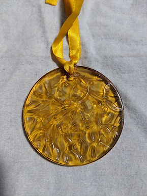 Lalique 1991 Noel Ornament - Amber Yellow
