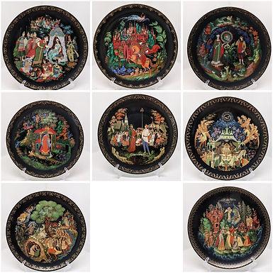 Russian Fairy Tale Decorative Porcelain Plates - Set of 8