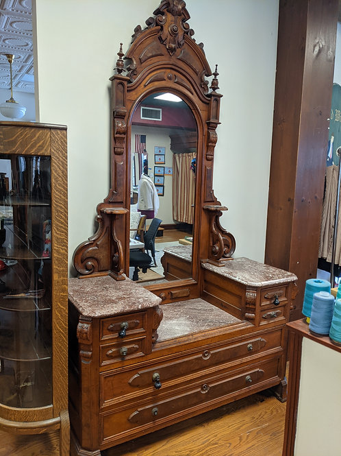 Antique Drop Well Dresser with Marble Tops