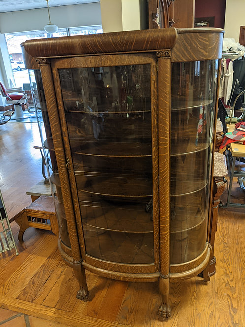 Antique Tiger Oak Curio Display Cabinet