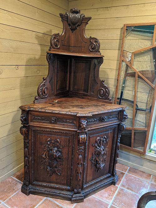 Corner Cabinet Antique French Hunting Renaissance