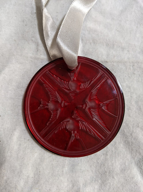 Lalique 2009 Red Swallows Ornament