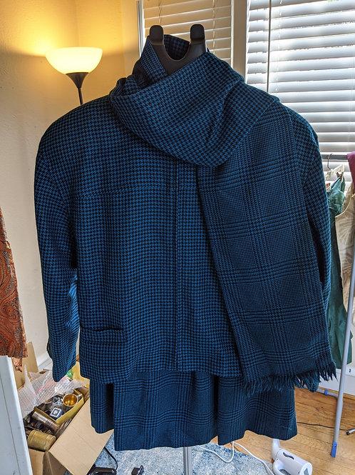 Vintage Carlisle 100% Wool Suit & Scarf Size 12