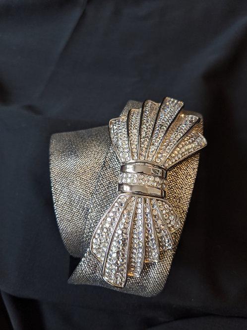 Judith Leiber Silver Karung Lizard Swarovski Crystal Bow Belt