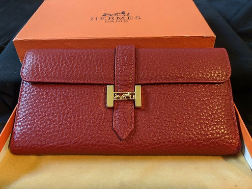 Authentic Hermes Bearn Bifold Red Leather Wallet VINTAGE