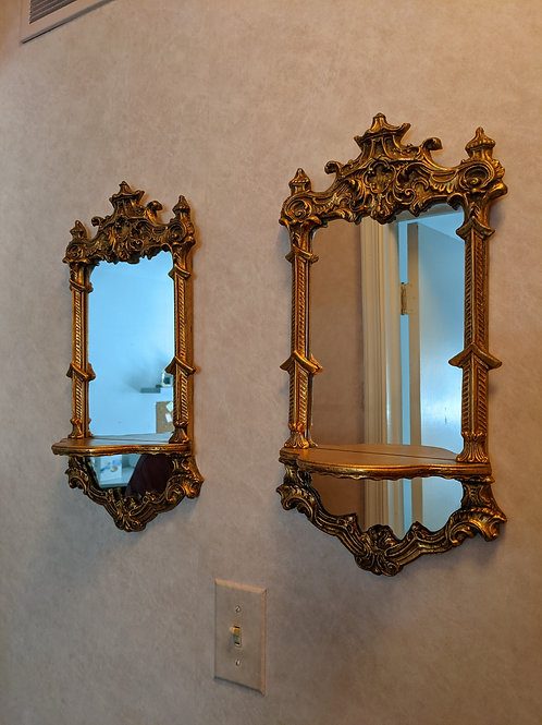 Vintage 1960's Wall Mirrors with shelves