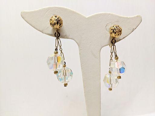 Vintage Accessocraft NYC Screw back, Dangle Drop Aurora Borealis Earrings