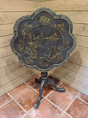 Vintage Chinoiserie Painted Tilt-Top Table