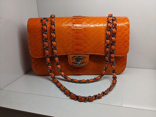 Chanel Orange Python Classic Double Flap Bag