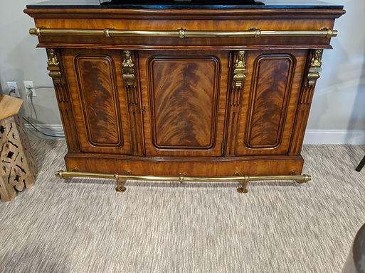 Maitland-Smith bar with marble top and storage