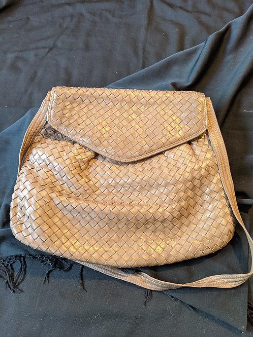 Vintage Bottega Veneta Beige Intrecciato Weave Crossbody