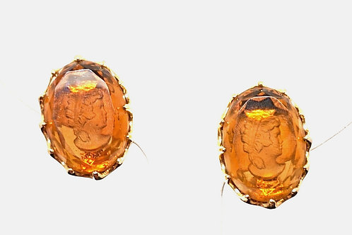 Vintage Amber Glass Intaglio Cameo Earrings