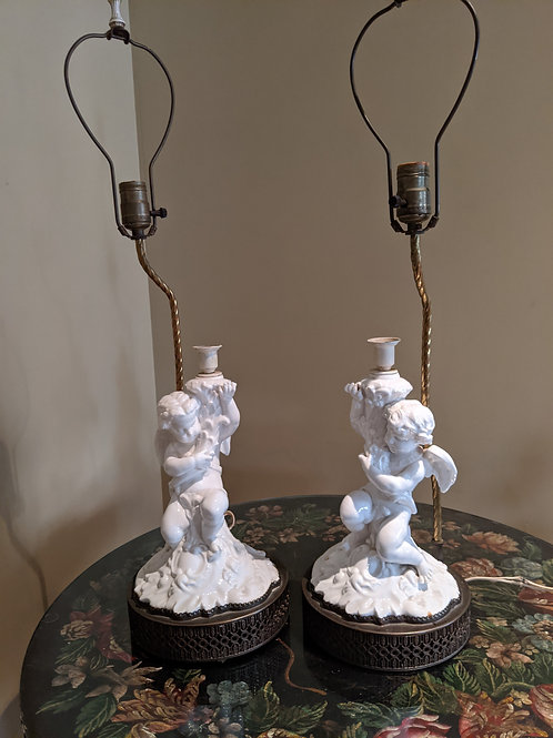 Pair of Bisque Porcelain Lamps with Cherubs