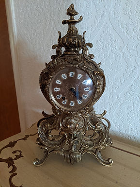 Vintage Urgos Rococo Style Brass Mantle Clock, Porcelain Numbers