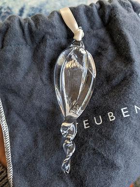 Rare Steuben Art Glass for Neiman Marcus Icicle Twist ornament 473/1000