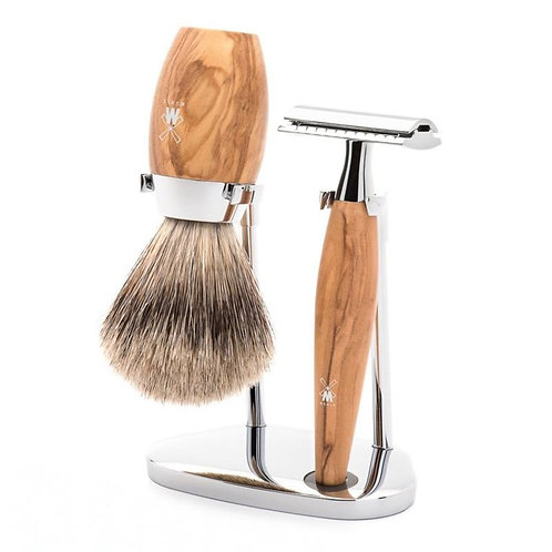 Kosmo Olijfhout Dashaar Safety Razor Set