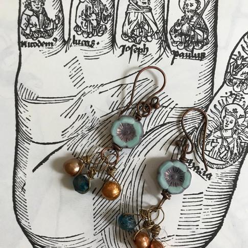 Czech Bead and Pearl Earrings
