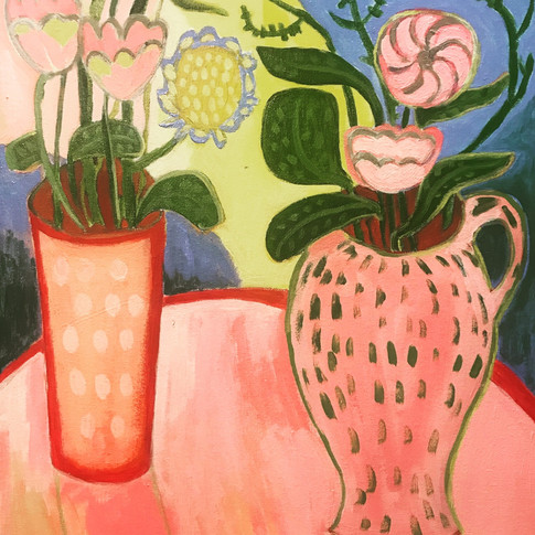 Flowers on a Pink Table