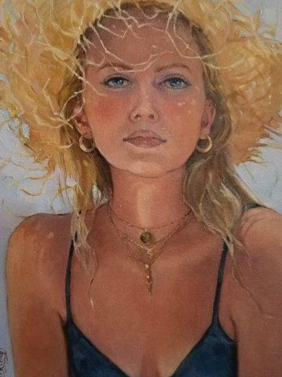 Straw Hat By Cindy Klong 12x16 Oil (2).j