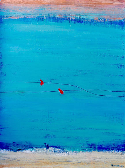 Peggy Hinaekian Two Red Birds on a Wire.