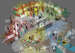 oh man productions-illustration-Foodmarket event