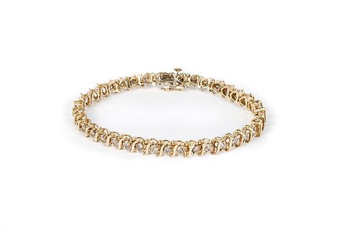 14k Gull armband með 3.04ct af demöntum M.SI