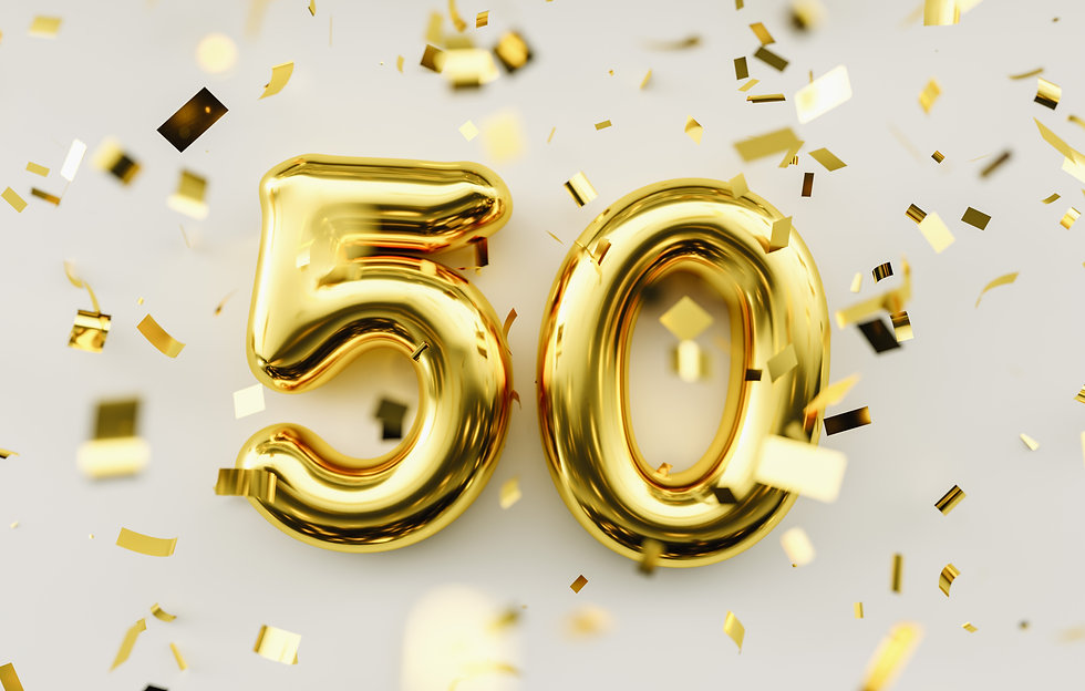 50 years old. Gold balloons number 50th