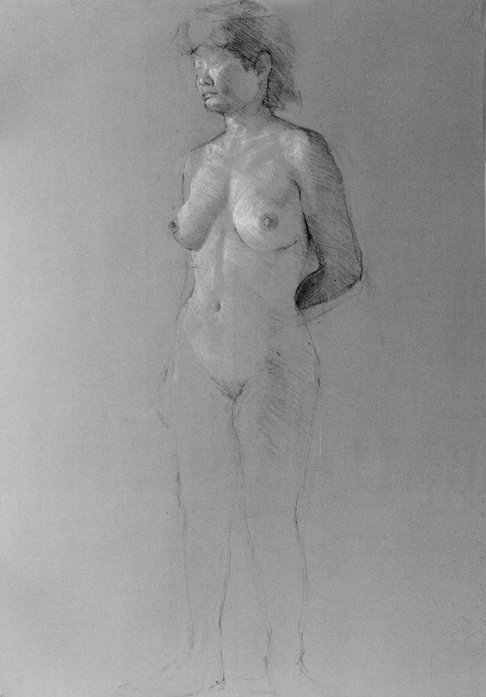 ヌードデッサン(コンテ、A2、1985年)