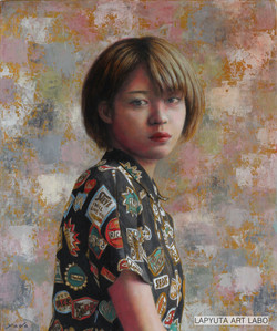 Young Female Artist  (F8、パネルに油彩)