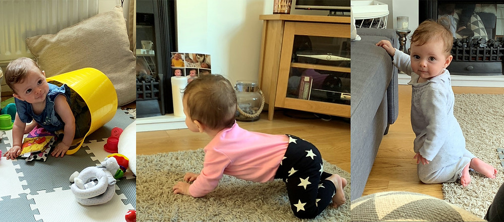 Baby crawling and standing