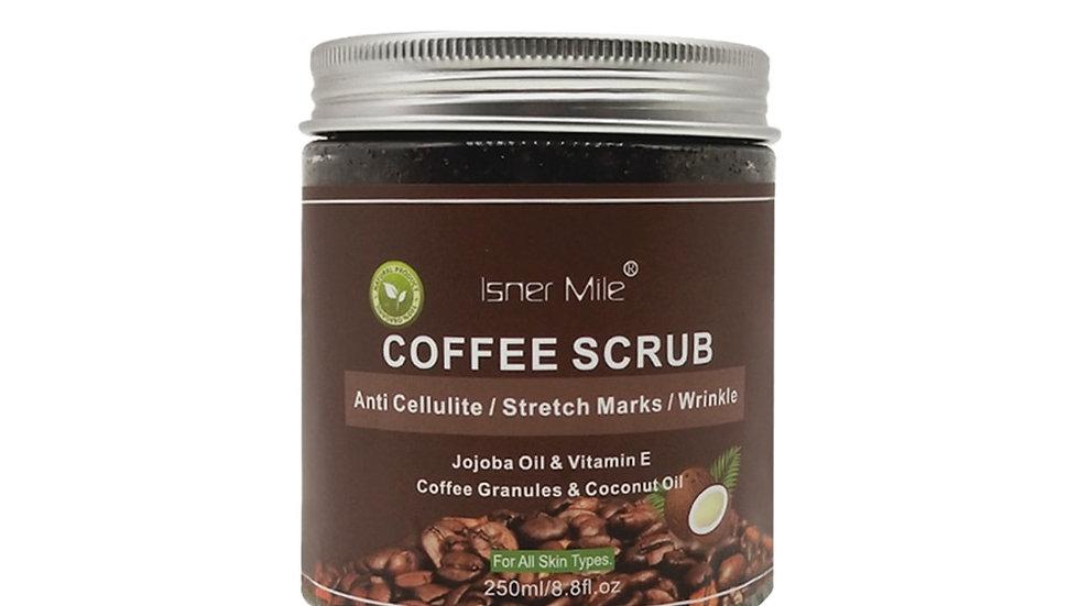 ISNER MILE Coffee Scrub 100% Natural Exfoliating Coconut Oil w/ Sea Salt 250ml