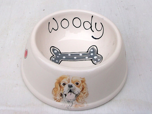 Dog Bowl with Portrait (Angled Sided)