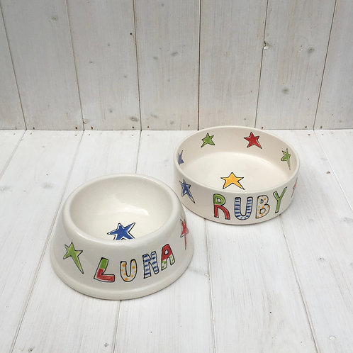 Personalised Dog / Cat bowl with stars and groovy name