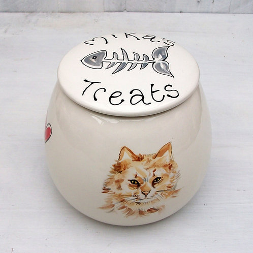 Treat Jar with Portrait of  your Cat